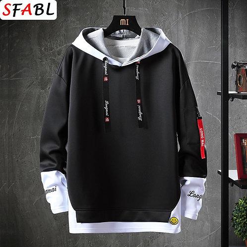 SFABL Letter Printed Mens Hoodies 2020 Japanese Style Hip Hop Casual Sweatshirts