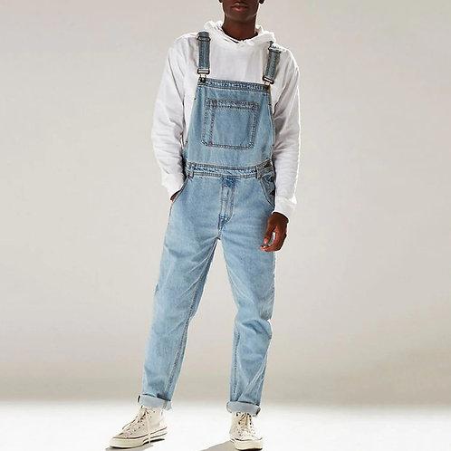 Men's Denim Bib Pants Washed Full Length Jeans Jumpsuits Hip Hop Straight Jean O