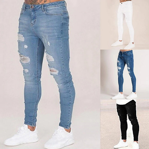 Oeak Mens Solid Color JeansSlim Pencil Pants Sexy Casual Hole Ripped streetwear
