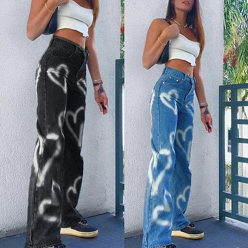 Vintage Heart Printed Jeans Women High Waist Harajuku Aesthetic Mom Jeans 90s