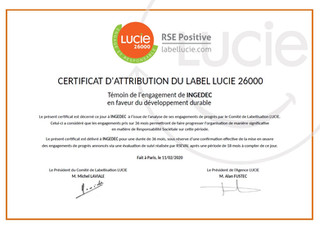 INGEDEC labellisé LUCIE ISO 26 000