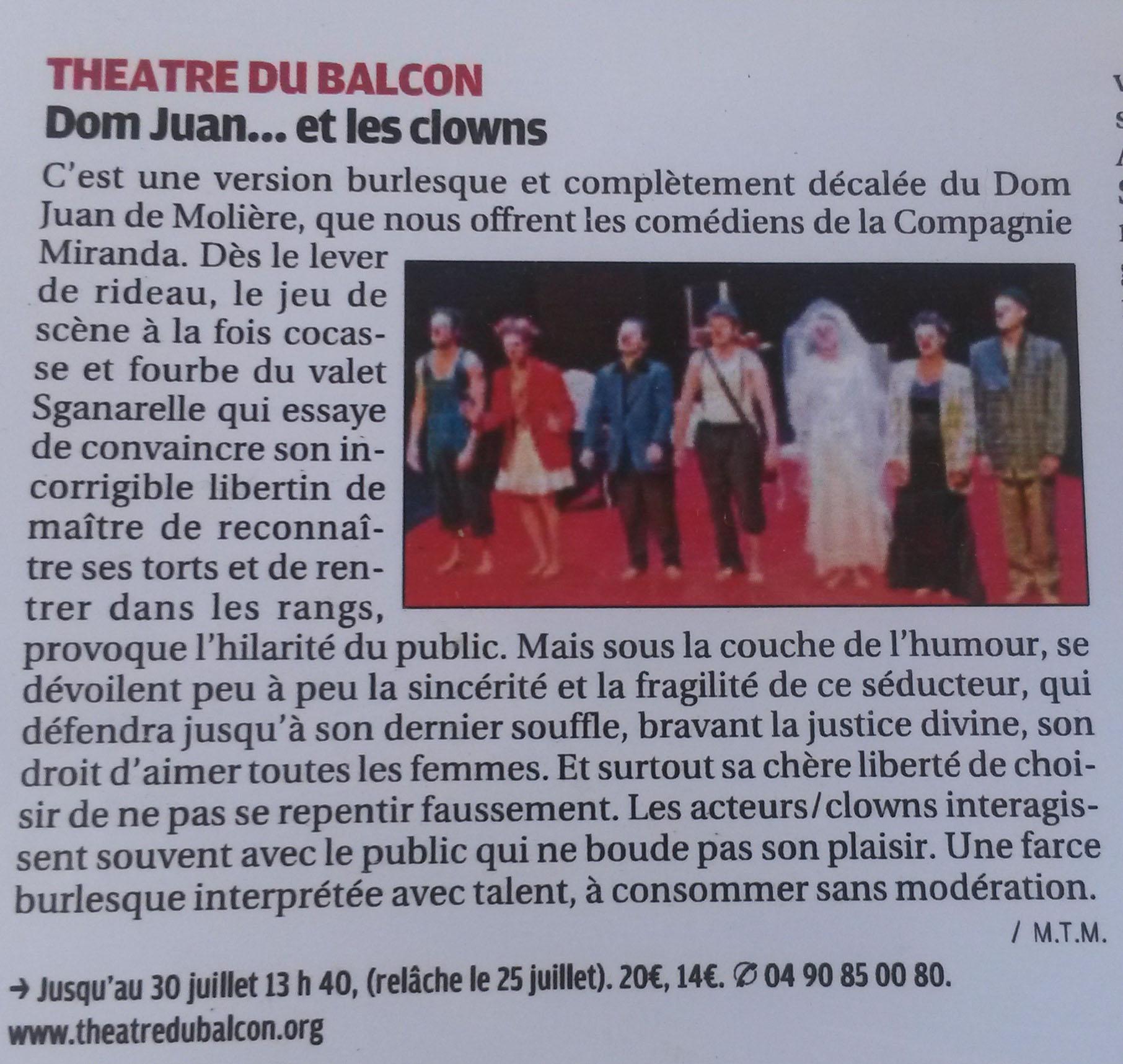 La Provence - Juil. 2016 - Dom Juan