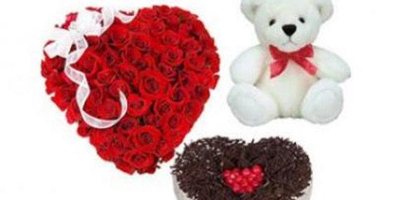 Roses Heart, Heart Shape Cake With Teddy