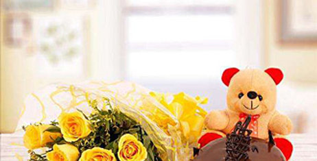 Yellow Roses BOUQUET AND CHOCOLATE CAKE WITH A TE