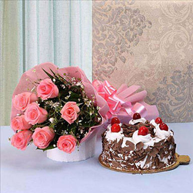 Black Forest Cake. AND Pink Roses