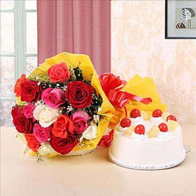CAKE WITH BOUQUET