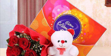 RED ROSES BOUQUET AND CHOCOLATES WITH A TEDDY