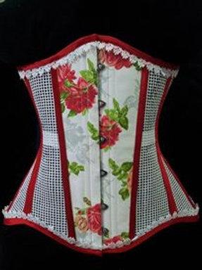Underbust whte cotton mesh, print flower & guipir