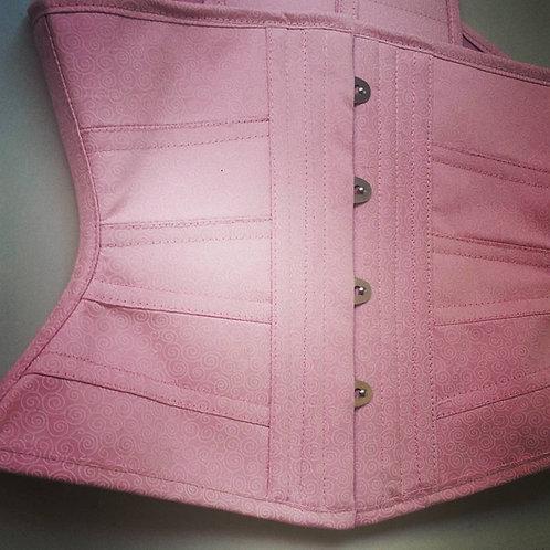 Ribbon em tricoline rosa clarinho com tecido estampado