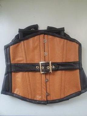 Waist Cincher Leatherette black & caramel w/ belt