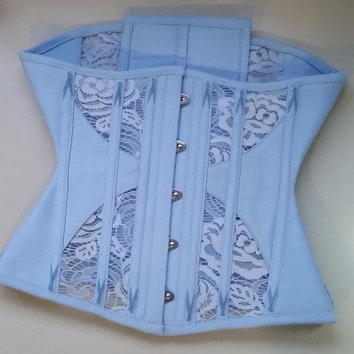 Underbust Azul Claro em poliéster rendada