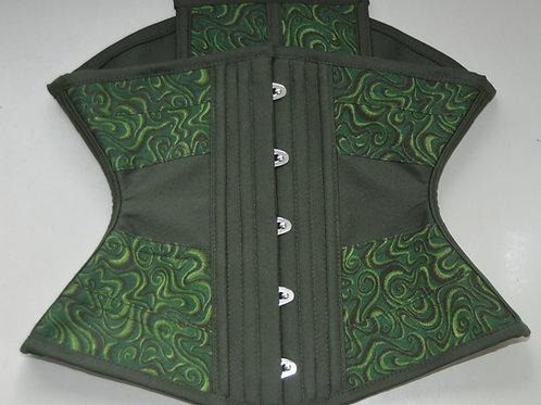 Waist Cincher horizontal (estilo ribbon) verde estampado