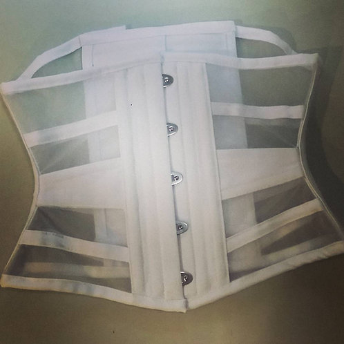 Waist Cincher horizontal  branco em tela poliéster branca