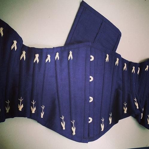 Waist Cincher em linho azul marinho 18 painéis