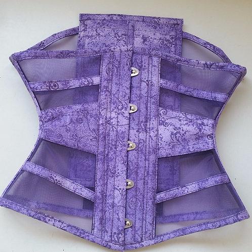Waist Cincher horizontal (estilo ribbon) em tela poliéster Roxa