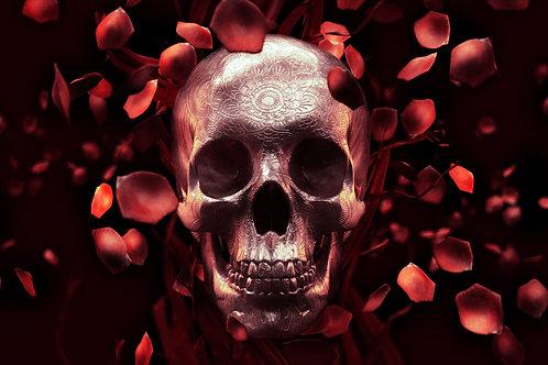 Underbust Skull & Red Roses