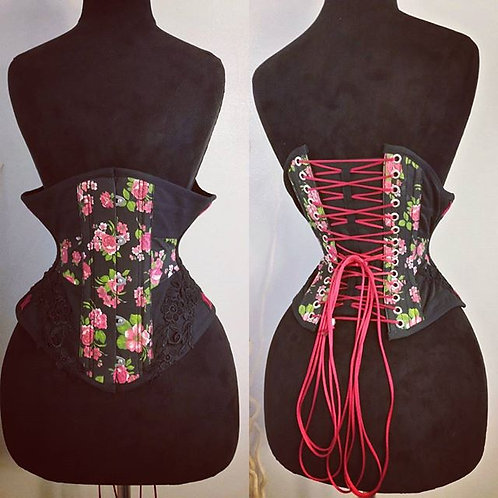 Waist Cincher horizontal black and floral