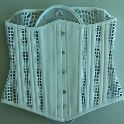 Underbust - White Cotton Mesh