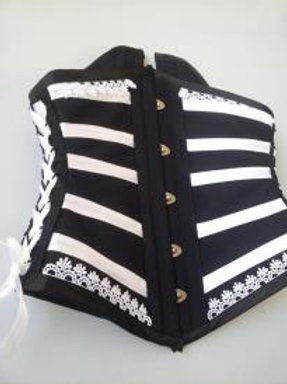 Waist Cincher Black and White with guipir