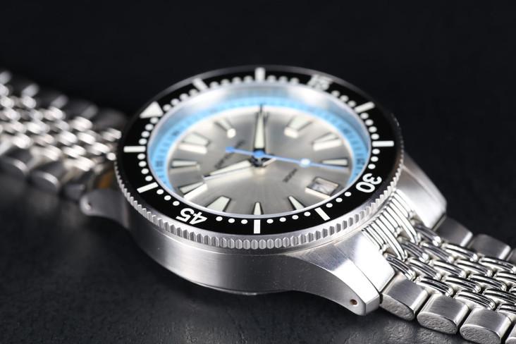 Marlin silver sunray dark blue lume ring