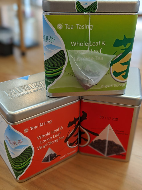 3 Tea Sacks Bundle: Jasmine Green Tea, Souchong Black Tea and Wuyi Oolong