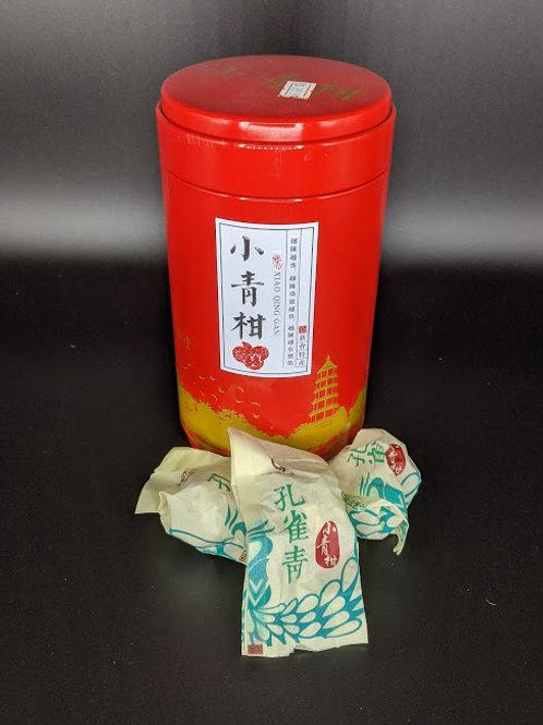 Peacock Cyan Pu'er Ripe Tea in Chenpi 孔雀青小青柑普洱熟茶