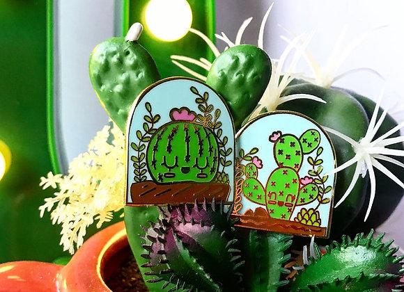 """Cute Two 1"""" Kawaii Cactus Enamel Lapel Pins"""