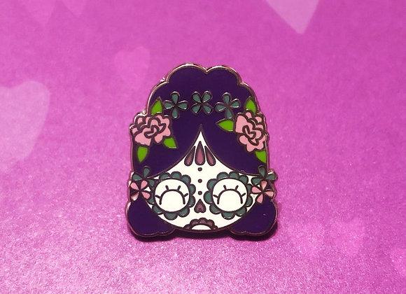 """Cute 1"""" Purple Sugar Skull/Dia De Los Muertos Girl Enamel Lapel Pin"""