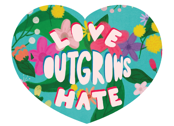 LOVE OUTGROWS HATE HEART STICKER