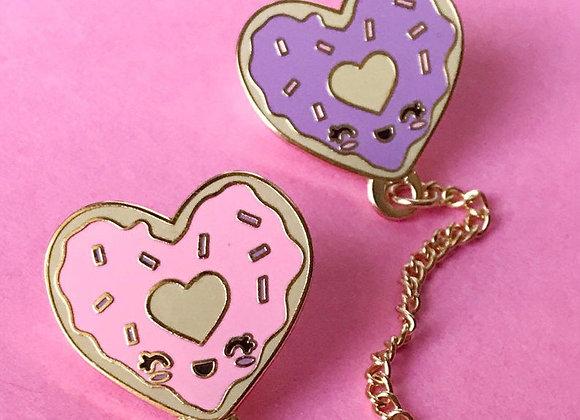 "Cute 1"" Heart Shape Donuts Collar Chains Enamel Lapel Pin"