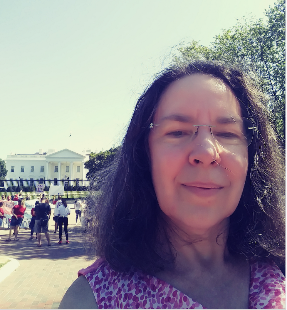 Washington Whispers columnist Jessie Seigel in front of the White House this week