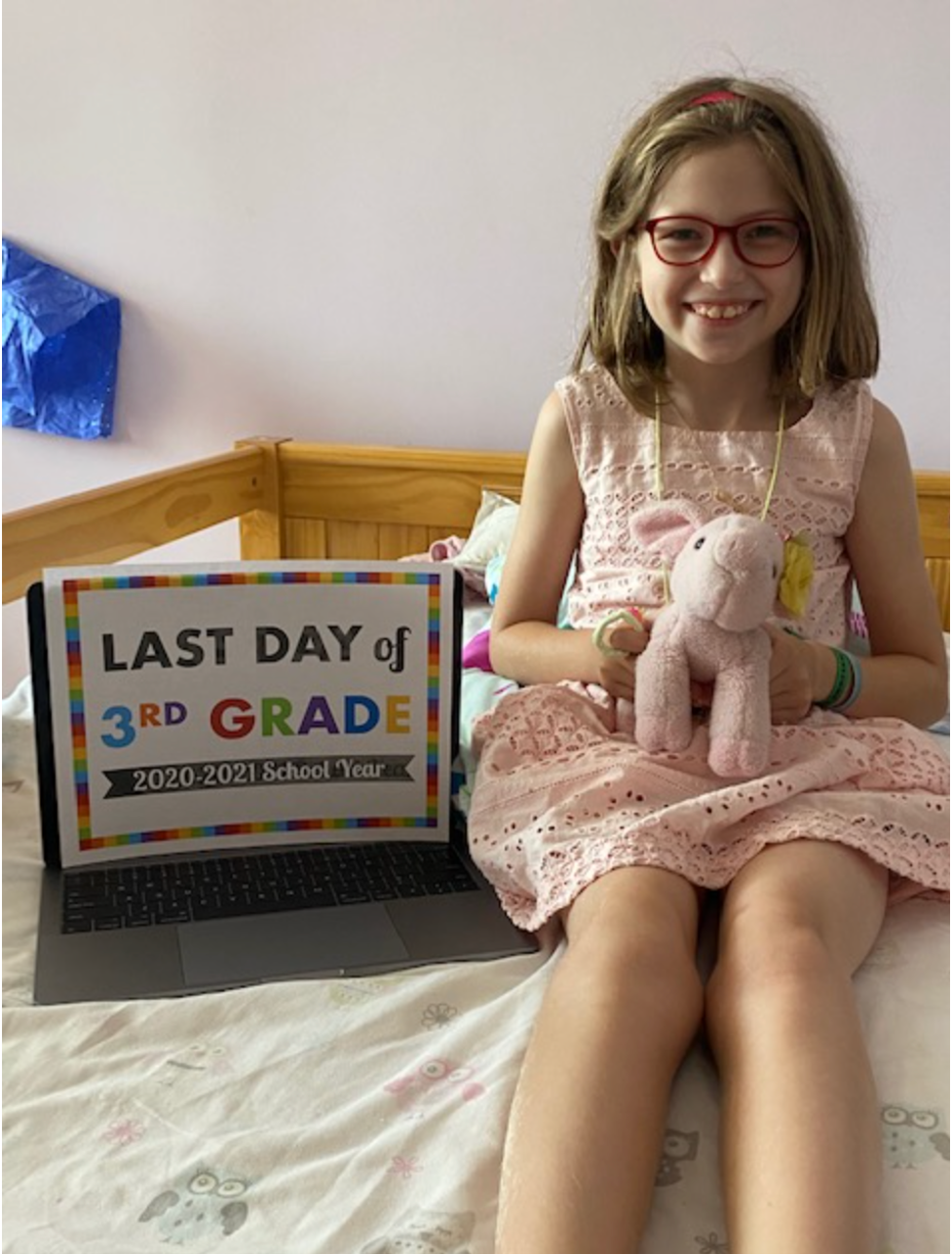 The author spent all of third grade working remotely on a computer stationed on her bed, with Twitchy her trusty stuffed pig by her side. But on September 13, it's back to the classroom