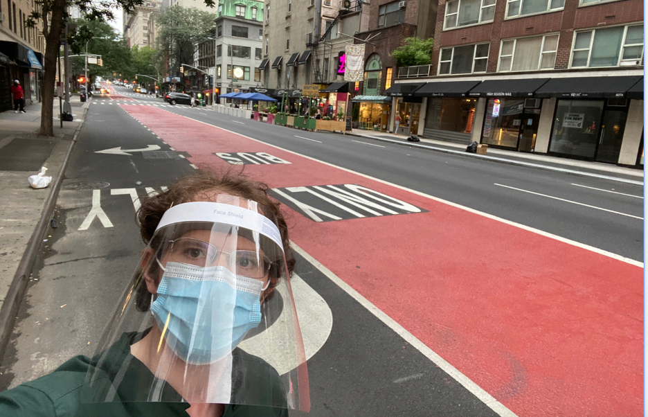 Matt Nadelson on the case in midtown Manhattan in his pandemic gear