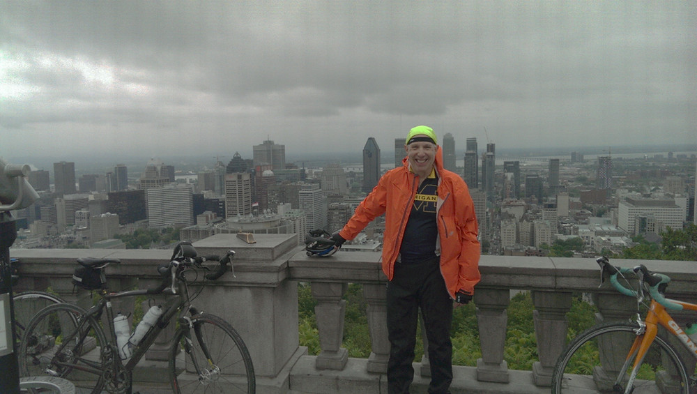 Stopping at a lookout while cycling at Parc du Mont-Royal in Montreal, Canada in 2017