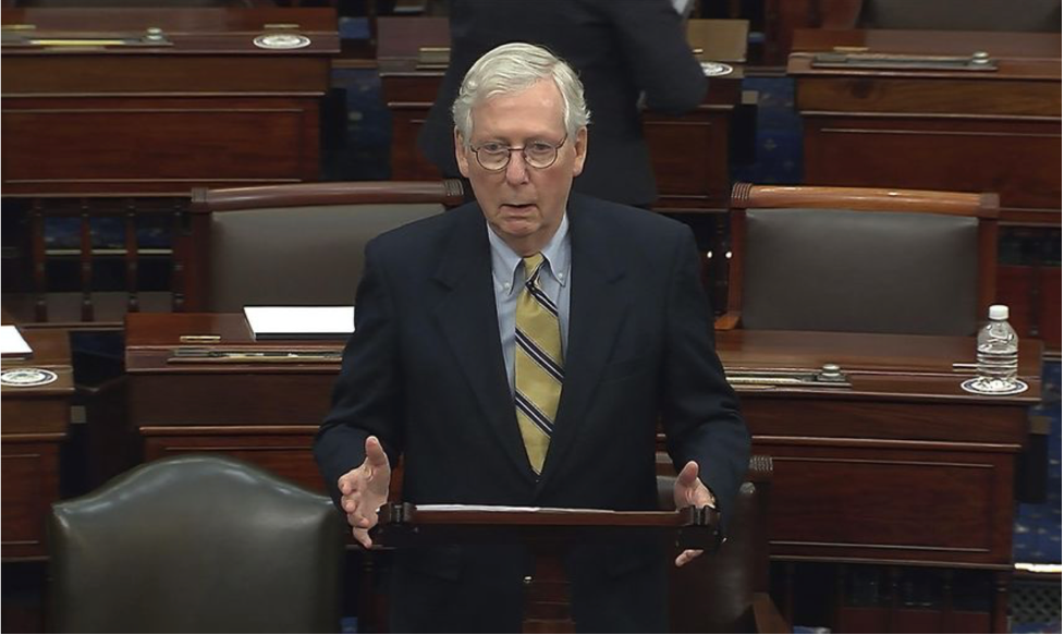 Mitch McConnell slams Donald Trump on the floor of the Senate on February 13, just after voting to acquit him