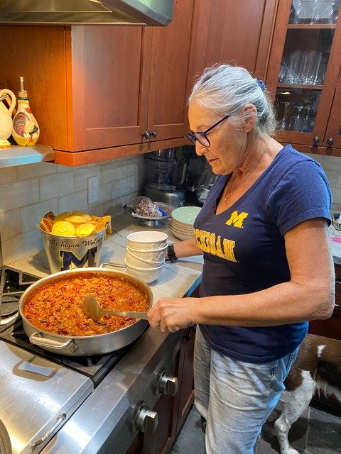 The author giving the chili and final stir.
