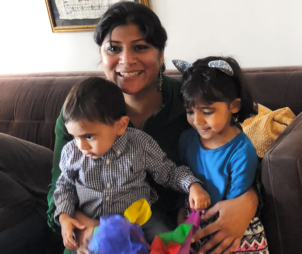 Miral Sattar and her children, Reza (left) and Zara (right)
