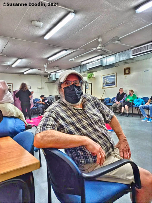 Joel Dzodin inside the bomb shelter, while exploding rockets were heard overhead.