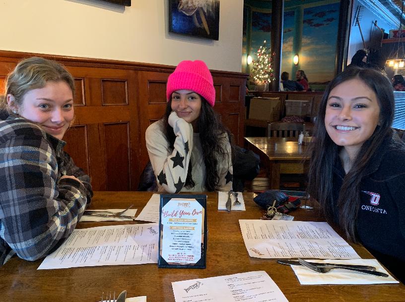 Kiersten, Sabrina, and Brittney eating breakfast near campus at the Autumn Cafe last December