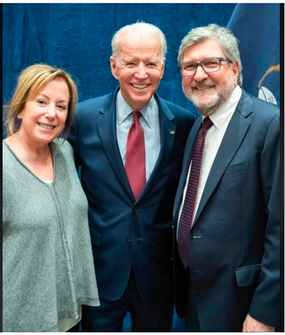 The author and Carol Bader Lowen with President-elect Joe Biden at the Detroit Athletic Club in March