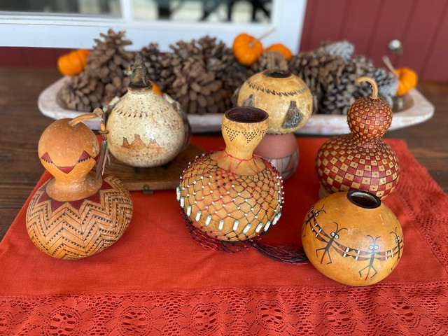 Bob's beautifully decorated gourds