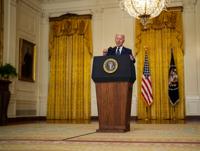 The President speaking to the nation from the White House on August 26, the day of the attack at the Kabul airport