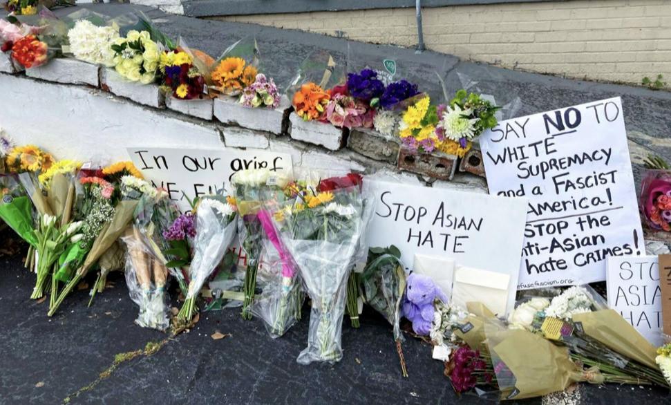 A makeshift memorial to the victims of the Atlanta shootings