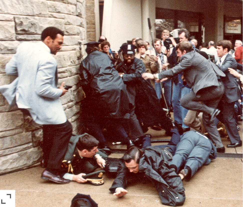 Carnage and chaos outside of the Hilton Hotel after the Hinckley shootings in 1981