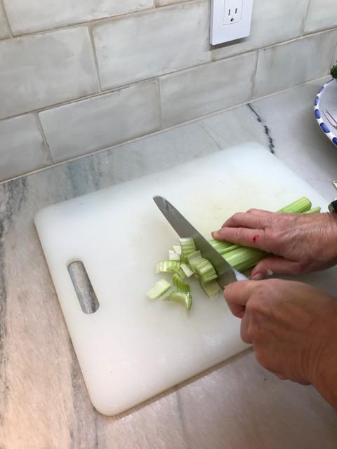 4) Chopping celery
