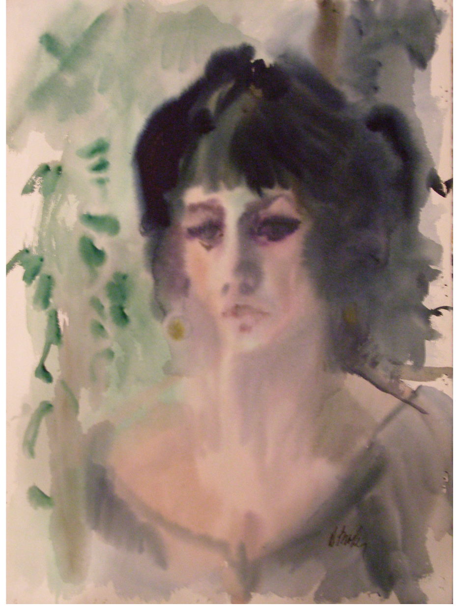 Self-portrait by Dorothy Broder. Watercolor on rag paper