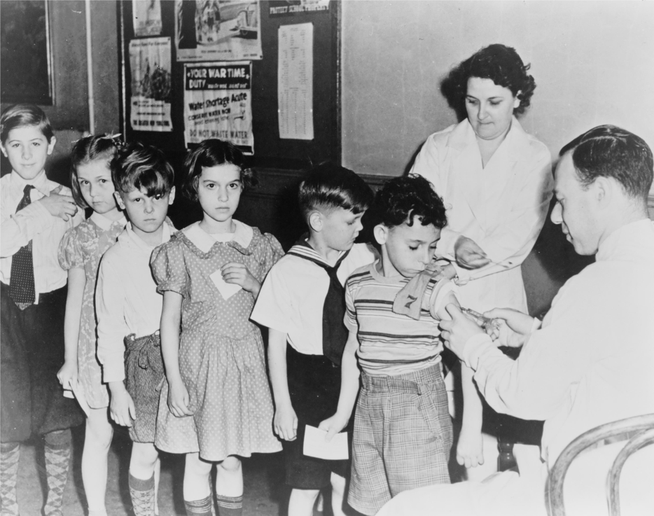 NYC children lined up for their shots in 1944