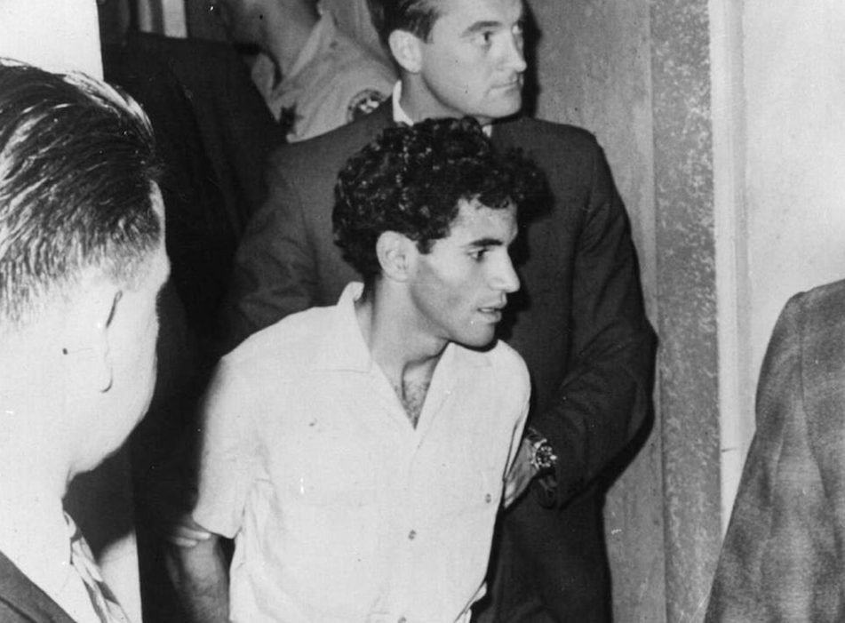 Sirhan in custody after the Kennedy killing in 1968
