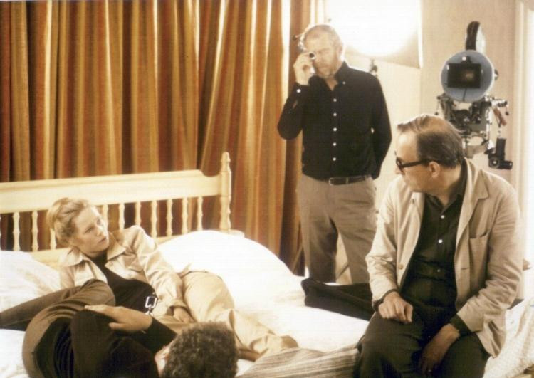Ingmar Bergman (r.) and cinematographer Sven Nykvist (ctr.) on the set of Scenes from a Marriage (1973)