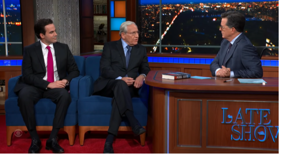 """""""Late Show"""" host Stephen Colbert gave the """"Peril"""" authors a tougher journalistic working-over than most reporters did"""